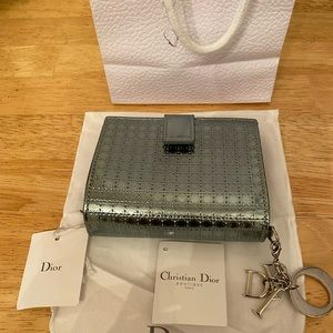 Pristine Dior Wallet in Metallic Silver